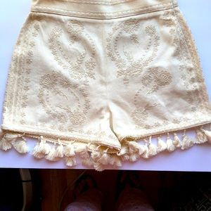 NWT Zara Embroiled Shorts with Tassels